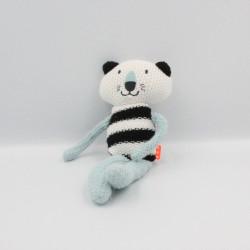 Doudou chat laine blanc noir bleu
