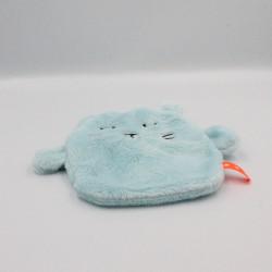 Doudou plat chat bleu étiquette orange avec étoiles