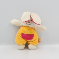 Doudou lapin blanc jaune rose LES MATERNELLES