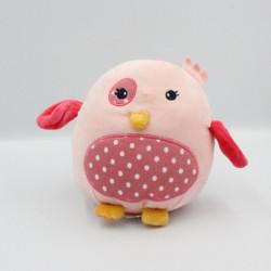 Doudou oiseau poule rose pois BRIOCHE