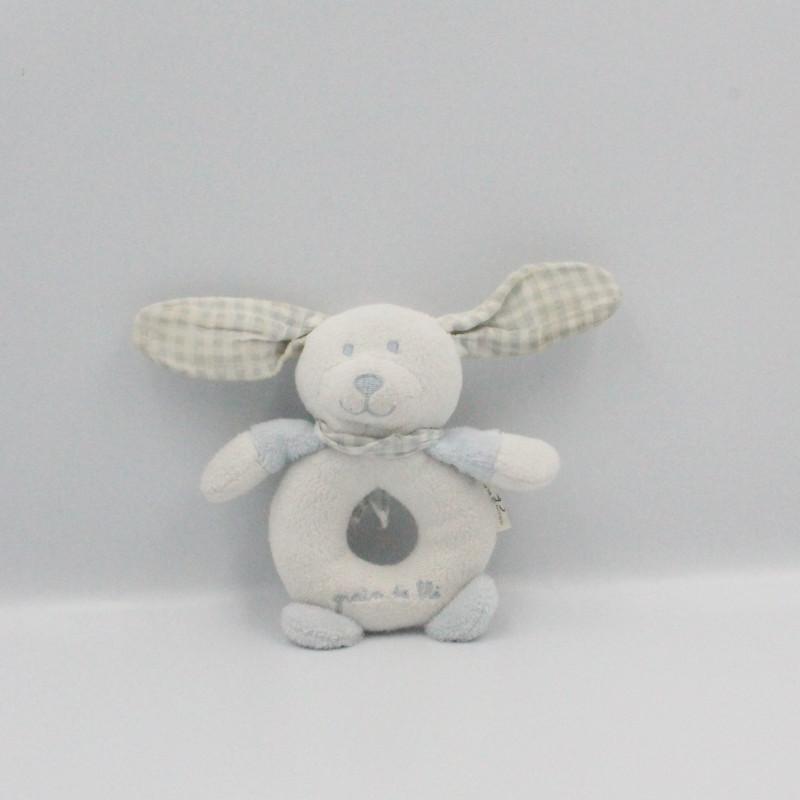 Doudou hochet lapin blanc bleu vichy GRAIN DE BLE