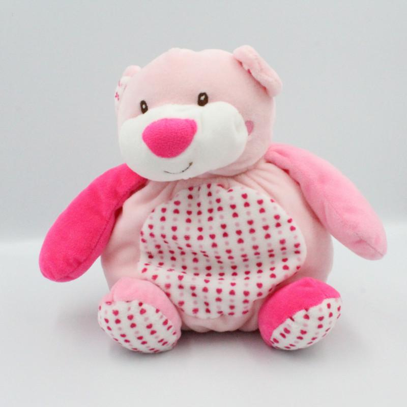 Doudou boule ours rose blanc coeurs AUCHAN