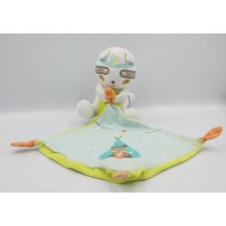 Doudou renard blanc mouchoir bleu KIABI SIMBA TOYS