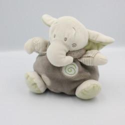 Doudou éléphant boule blanc beige gris rayé vert CP INTERNATIONAL