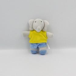 Mini Doudou baby Babar gris jaune bleu LANSAY