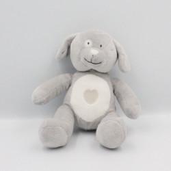 Doudou chien gris blanc coeur OBAIBI