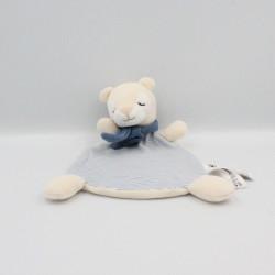Doudou plat ours blanc écru bleu rayé H&M