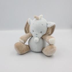 Doudou musical éléphant bleu beige NATTOU