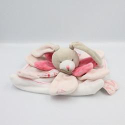 Doudou chien couché rose cocard blanc OBAIBI