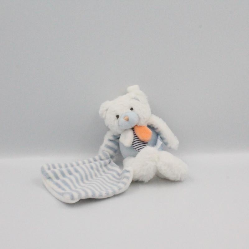 Doudou et compagnie ours blanc bleu orange avec mouchoir Les Gommettes