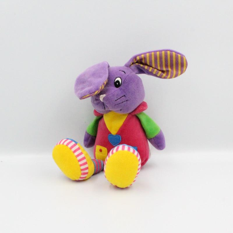 Doudou lapin violet rose vert bleu jaune FIZZY