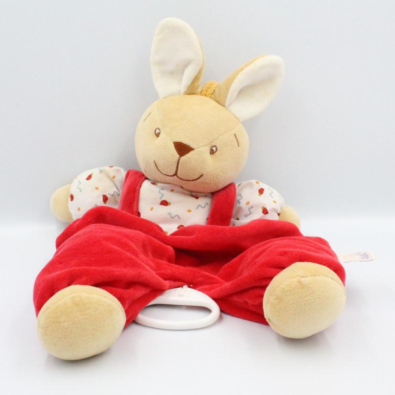 Doudou musical lapin rouge blanc coccinelle NOUKIE'S