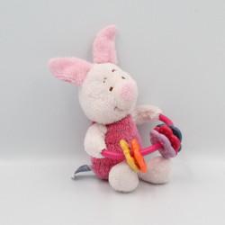 Doudou cochon rose Porcinet hochet DISNEY