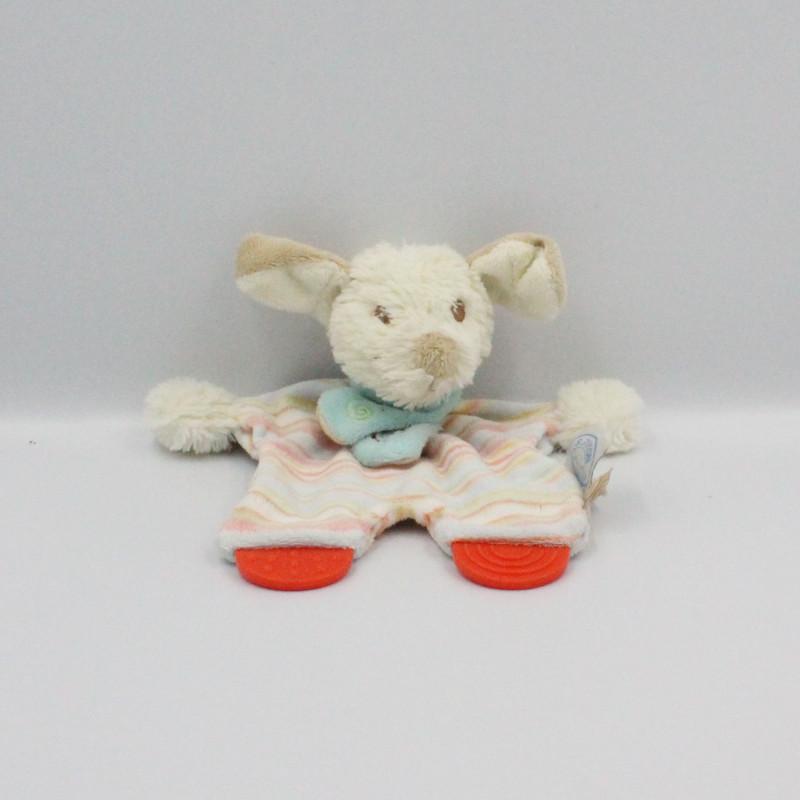 Doudou plat chien blanc bleu orange rayé Kishoo Tifoo NOUKIE'S
