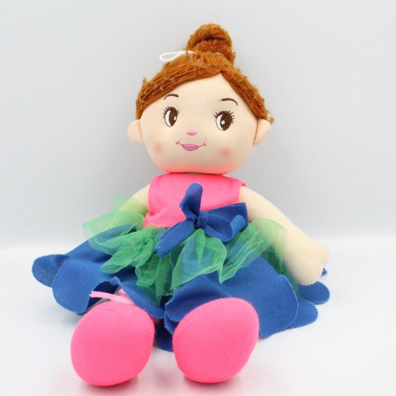 Doudou poupée danseuse rose bleu vert chignon ZEEMAN