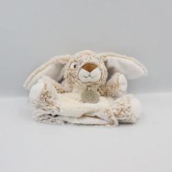 Doudou marionnette lapin beige blanc tout doux HISTOIRE D'OURS