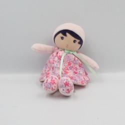 Doudou poupée blanc rose mauve fleurs KALOO