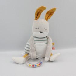 Doudou lapin blanc gris jaune bleu rayé hochet TAPE A L'OEIL