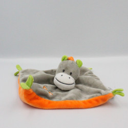 Doudou plat ane gris vert orange U TOUT PETITS