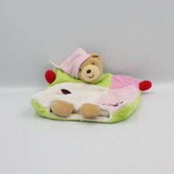 Doudou plat ours rose vert rouge blanc cerise Cherry Colors KALOO