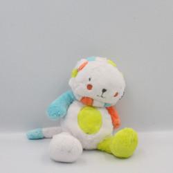 Doudou lion blanc vert orange bleu ORCHESTRA