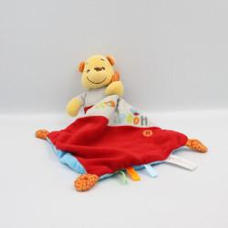 Doudou Winnie mouchoir rouge bleu gris orange oiseau DISNEY NICOTOY