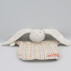 Doudou plat marionnette lapin blanc carreaux Tagazou SERGENT MAJOR