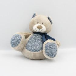 Doudou ours gris beige bleu laine NICOTOY