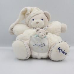 Doudou patapouf ours blanc étoiles bleu Petite Etoile KALOO