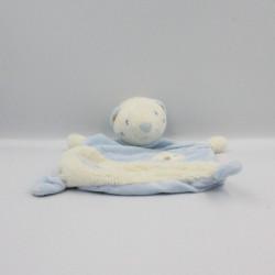 Doudou plat ours blanc bleu lune NEIL SAUTHON