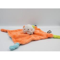 Doudou plat lion blanc orange vert bleu rayé gris ORCHESTRA