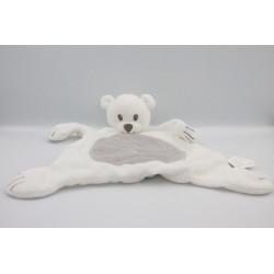 Doudou plat ours blanc gris BRIOCHE LA HALLE