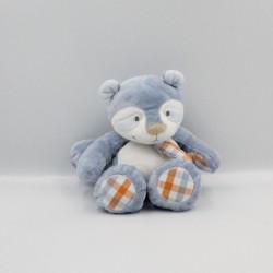 Doudou raton laveur bleu blanc orange William NOUKIE'S