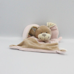 Doudou plat lapin beige rose NICOTOY