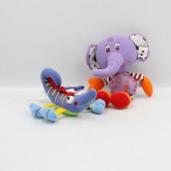 Doudou éléphant mauve et lézard bleu Tiny love