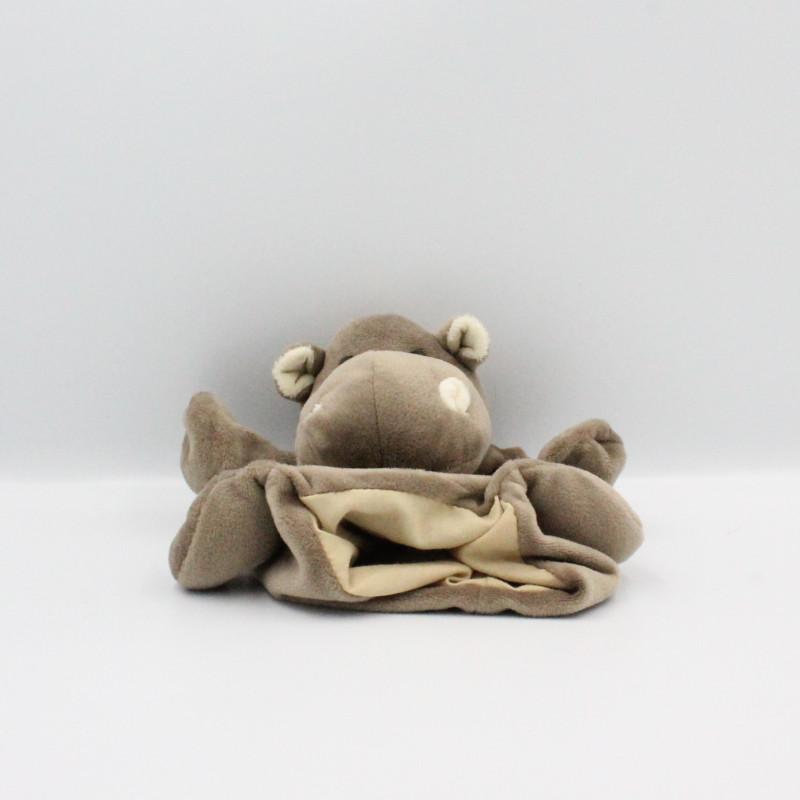 Doudou plat marionnette hippopotame marron HISTOIRE D'OURS