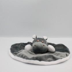 Doudou plat hippopotame gris blanc Kiwi ZOOPARC BEAUVAL