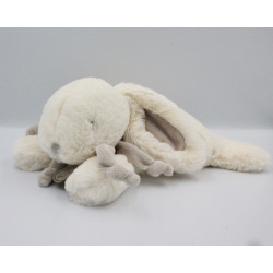 Doudou et compagnie lapin blanc gris beige tout doux Bonbon