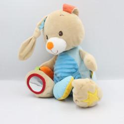 Doudou eveil lapin beige bleu orange vichy MINIMI