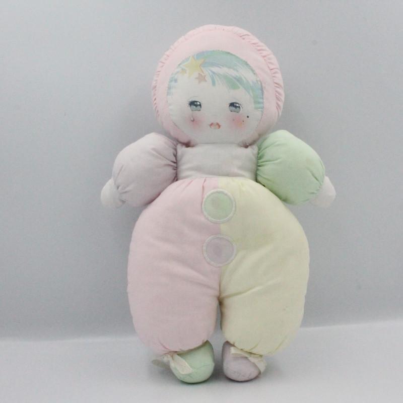 Ancien doudou poupée chiffon tissu rose blanc jaune vert MUNDIA