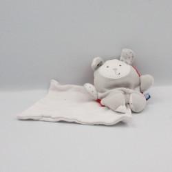 Doudou lapin gris blanc rouge mouchoir Cajou SUCRE D'ORGE