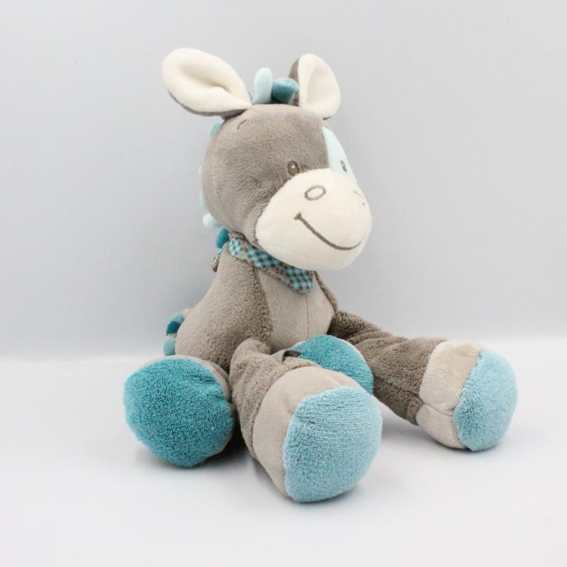 Doudou âne cheval gris bleu Gaston et Cyril NATTOU 30 cm