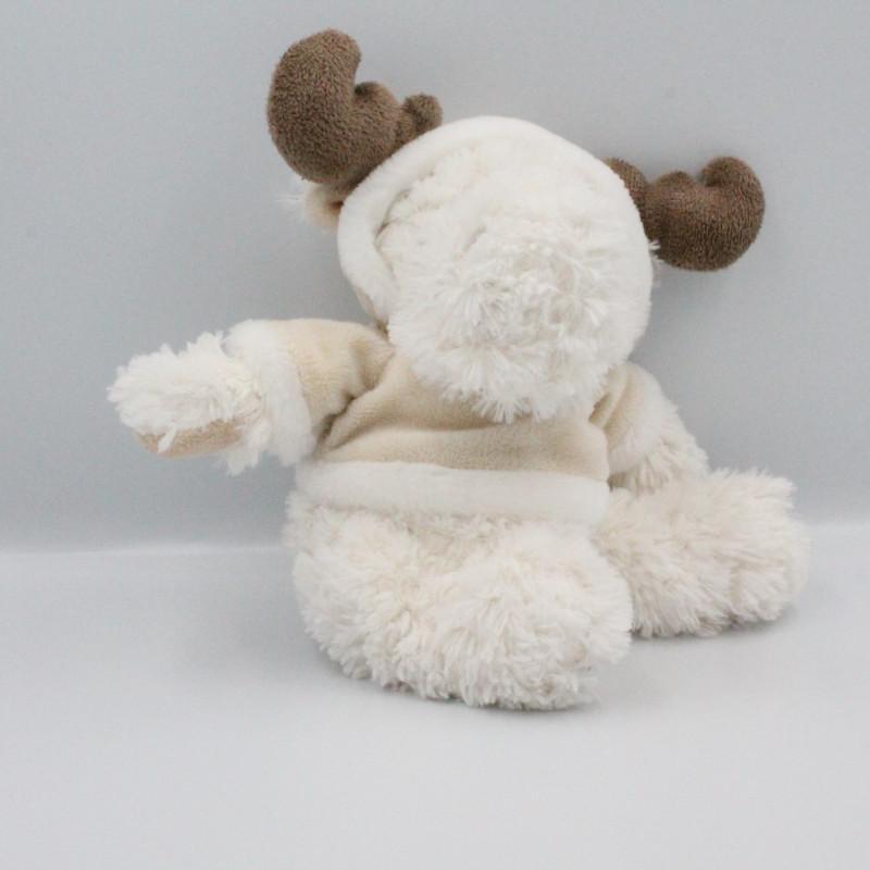 Peluche cerf élan renne blanc beige marron LOUISE MANSEN