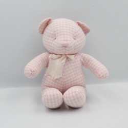 Doudou ours blanc rose vichy CMP
