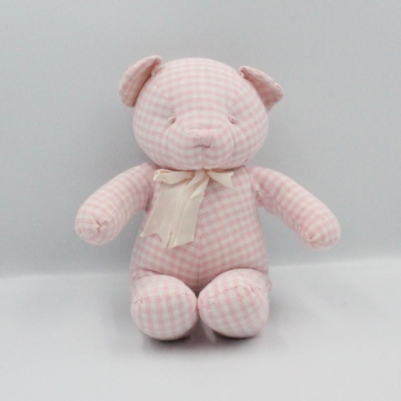 Doudou ours blanc rose vichy CMP