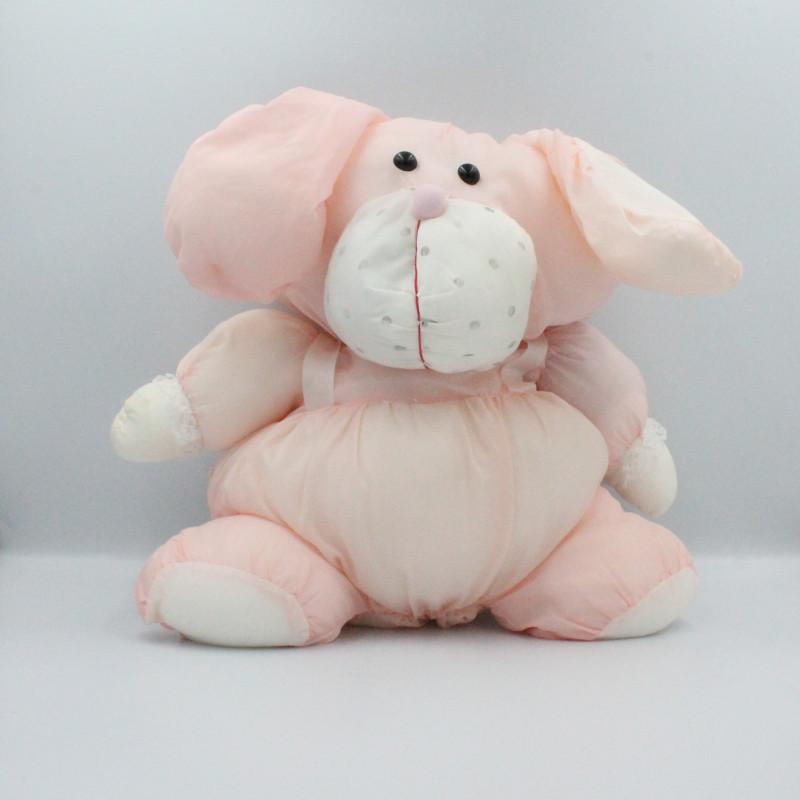 Peluche Puffalump lapin rose blanc