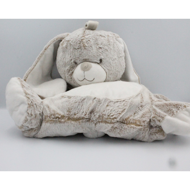 Doudou range pyjama lapin marron beige blanc TEX BABY