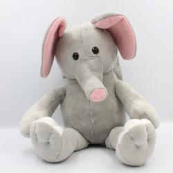Doudou peluche livre éléphant gris rose CMI