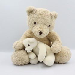 Doudou peluche ours beige blanc écru avec bébé NICOTOY