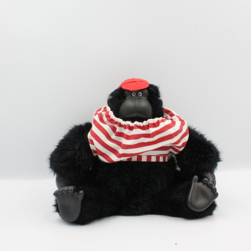 Ancienne Peluche Singe noir rayé rouge Magogo gorilla Macarena 1997